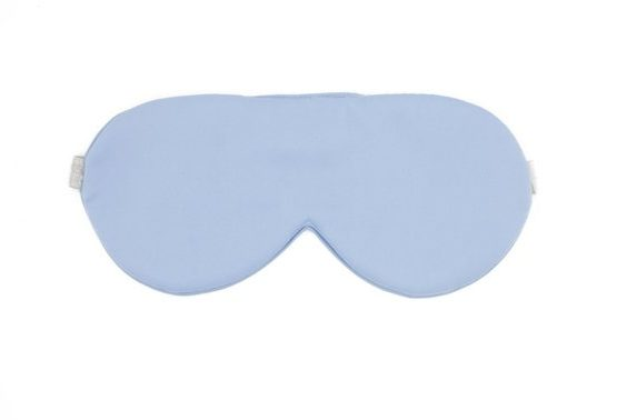 Blue Colored Silk Sleep Mask Displayed On A White Background